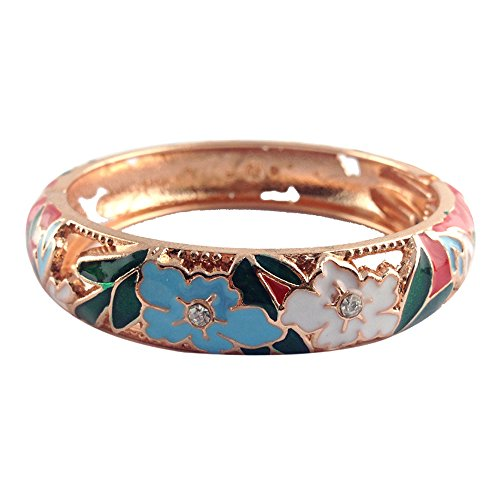 Sterling Silver Butterfly Watch - UJOY Hollow Bracelet Jewelry Colored Enamel Unique Open Hinged Cloisonne Bangle Gifts for Women Girls Birthday 88A12 Peony red