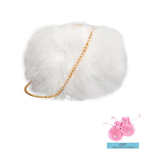 Zarapack Women's Genuine Fluffy Feather Fur Round Clutch Shoulder Bag (White) Fur Shoulder Bag