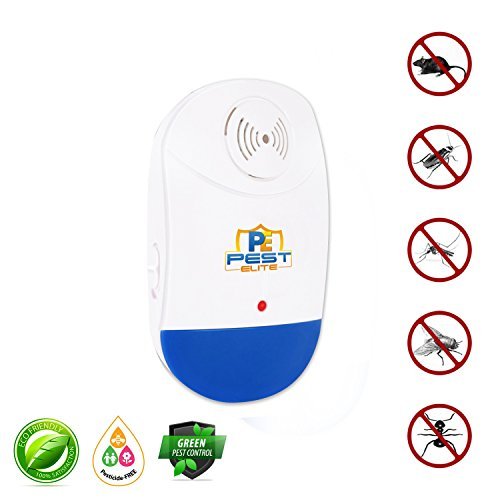 Ultrasonic Pest Control Repellent- Electronic Plug-in Repeller w/Night Light, Repels insects & rodents: (Roaches,Spiders,Mice,Mosquitoes,Ants,Rats,Bugs) Non-toxic & Ecofriendly, Pet & Family Safe