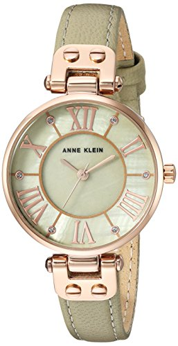 (Anne Klein Women's Quartz Metal and Leather Dress Watch, Color:Green )
