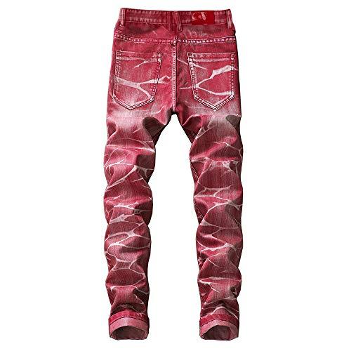 Deportivo Pantalones Rojo Trabajo Skinny Logobeing de Mezclilla Largos de Jeans Slim Pantalones Baja Pantalon Fit Cintura Hombre Vaqueros Hombre qv1pv
