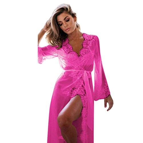 Albornoces de Camisa Caliente Robe para mujeres Pijamas Aimee7 Robe Encajes Kimono dormir Ropa Rosa BF6AgnWzqS