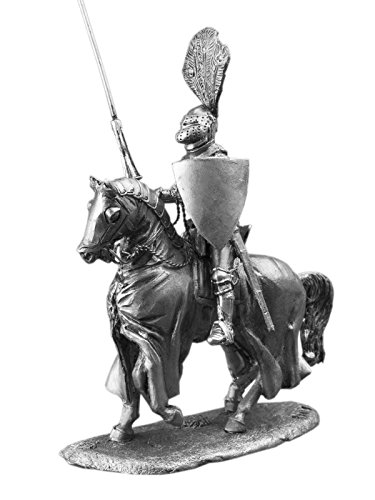 Medieval Cavalry Knight With Lance Tin Metal 54mm Action Figures Toy Soldiers Size 1/32 Scale for Home Décor Accents Collectible Figurines ITEM #6019AZ