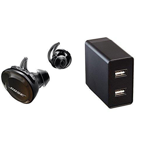 Bose SoundSport Free Truly Wireless Sport Headphones - Black with AmazonBasics USB Wall Charger