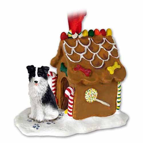 Border Collie Dogs Gingerbread House Christmas Ornament (Large Ornaments Collie Border)