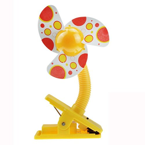 Stroller Pattern - Mini Clip Fan,lotus.flower Battery Operated Clip On Mini Desk-Colorful Pattern-Cooling Portable Small Stroller Fan for Baby, Car Seat, Gym, Travel, Treadmill (Yellow)