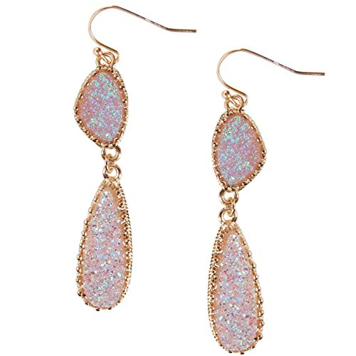 (Humble Chic Simulated Druzy Drop Dangles - Gold-Tone Long Double Teardrop Dangly Earrings for Women, Lavender Glitter, Sparkle, Simulated Amethyst, Simulated Tanzanite, Purple, Gold-Tone)
