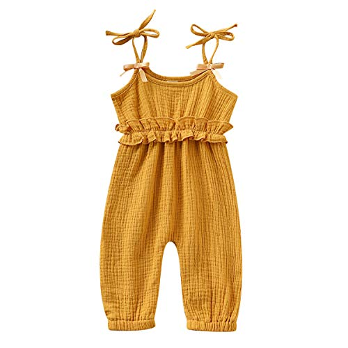 (Baby Girls Romper Solid Ruffled Strap Jumpsuit Summer Sleeveless Halter Bodysuit Onesie for Toddler Infant Girl (A Yellow, 12-18)