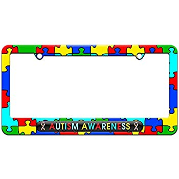Puzzle Ribbons License Plate Tag Frame Autism Awareness