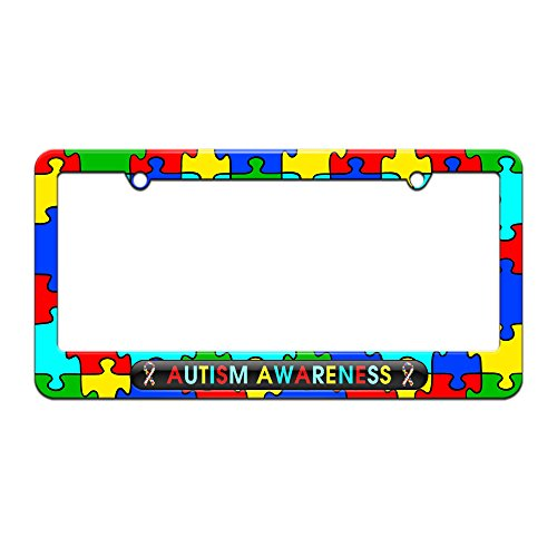 Autism Awareness - Puzzle Ribbons - License Plate Tag Frame - Autism Awareness Puzzle Pieces Design