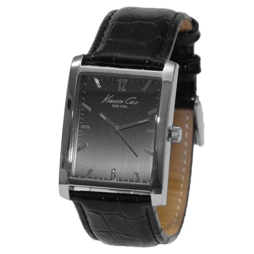 Croco Watch Strap Embossed - Kenneth Cole New York Rectangular with Croco-Embossed Strap Men's watch #KCW1002