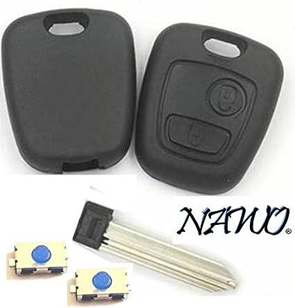 Carcasa de llave plip de 2 botones para Citroën, sin tornillos + 2 botones conmutadores