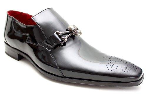 Jeffery West Muse G0559Ap - Chaussures en cuir verni homme - détail crâne - noir