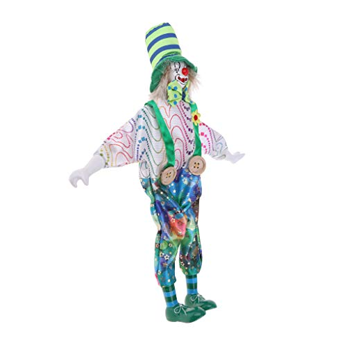 CUTICATE 13inch Porcelain Smiling Clown Doll Wearing Colorful Outfits, Funny Harlequin Doll, Circus Props, Halloween Decor