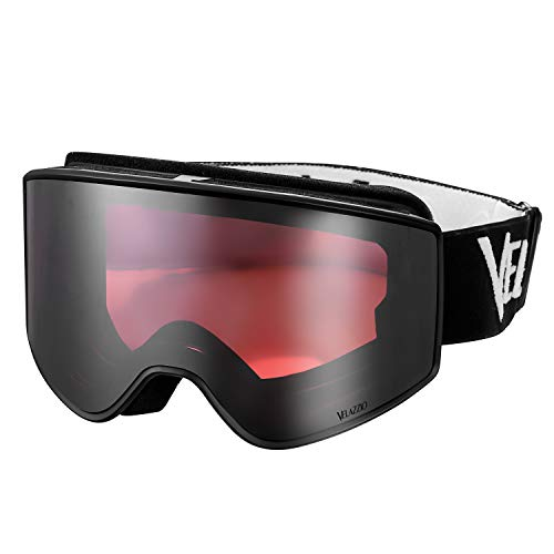 (VELAZZIO OTG Ski Goggles, Snowboard Goggles - Double Layer Interchangeable Lens, UV Protection, Anti-Fog, Snow Goggles for Men & Women (Black Frame/Red Lens with Light Silver Coating (VLT)