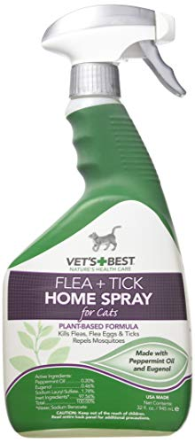 Vet's Best Flea and Tick Home Spray for Cats, 32 oz, USA Made (2 Pack)
