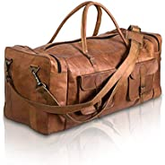 Komal's Passion Leather Leather Duffel Bag Large Travel Bag Gym Sports Overnight Weekender