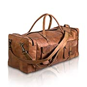 Komal's Passion Leather Leather Duffel Bag 32 Inch Large Travel Bag Gym Sports Overnight Weekender Bag 30 Inch Brown