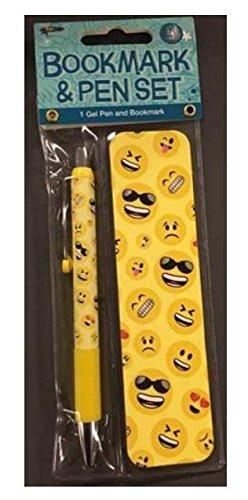Smiley Face Emoji Gel Pen And Bookmark Set
