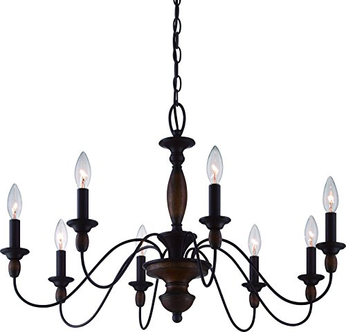 Cheap Luxury Americana Chandelier, Medium Size: 19.5″ H x 29″ W, with Shabby Chic Style Elements, Stained Wood Corinthian Stem, Rustic Bronze Finish and Exposed Bulbs, UQL2351 by Urban Ambiance