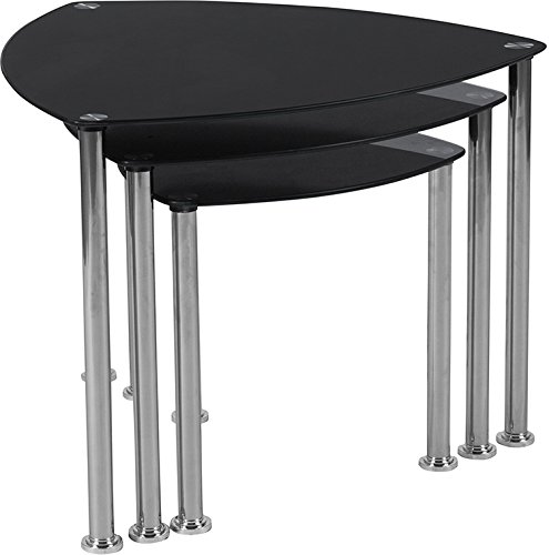 Contemporary Modern Design Black Glass Nesting Tables with Stainless Steel Legs
