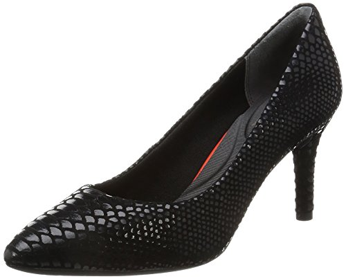 Rockport TOTAL MOTION 75MM POINTY TOE PUMP - Tacones Mujer Negro - Schwarz (Black Boa Snake)