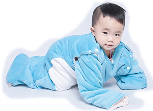 Sleep Nest Baby Sleeping Bag Detachable Long Sleeve for Autumn Winter (Size : L(110cm), Blue Bear)