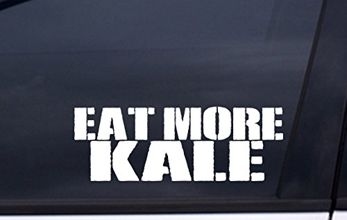 "EAT MORE KALE vinyl decal 2.5""x6"" WHITE Free Shipping greens paleo vegan Sticker"
