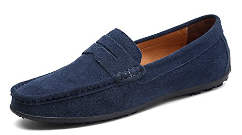 Navy Dress Black Shoes - YZHYXS Navy Blue Slip on Shoes for Men Penny Loafers Suede Cow Leather Comfort Business Casual Dress Shoes Size 11 (A101DK Blue46)