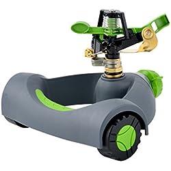 YeStar Lawn Sprinkler System, Adjustable 360° Rotating Portable Garden Impulse Sprinkler with Metal Head & Wheeled Base, Water Up to 4,800 Sq. Ft. Coverage