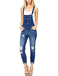 Womens Ripped Denim Bib Overall Jumpsuit Jeans Skinny Distressed Long Rompers