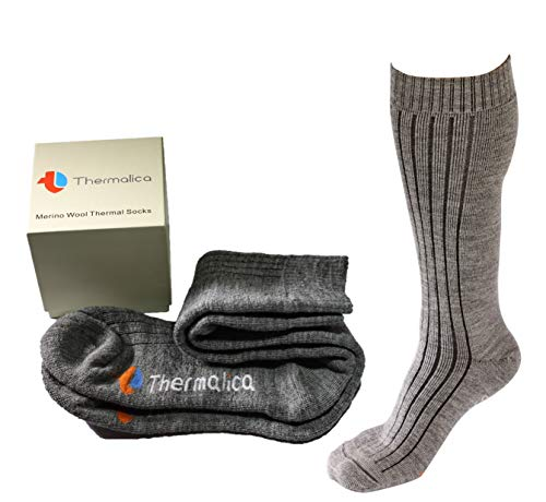 Thermalica Luxury Thermal Merino Wool Boot Socks - Calf High, Thick and Soft for Hiking, Trekking, Against Extreme Cold Weather, Outdoor & Indoor to Warm Up Cold Feet