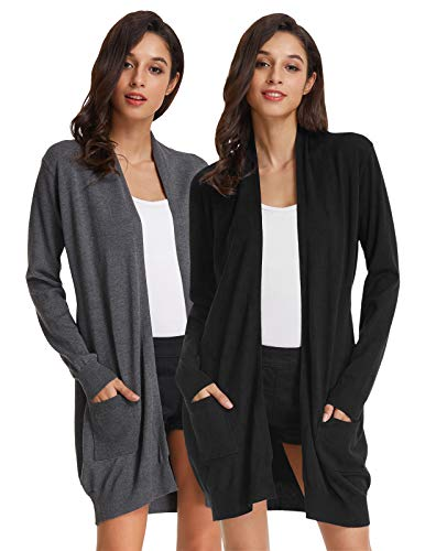 (Womens Light Weight Long Sleeve Open Front Long Cardigan (M,2 Pack-Black/Dark Grey))