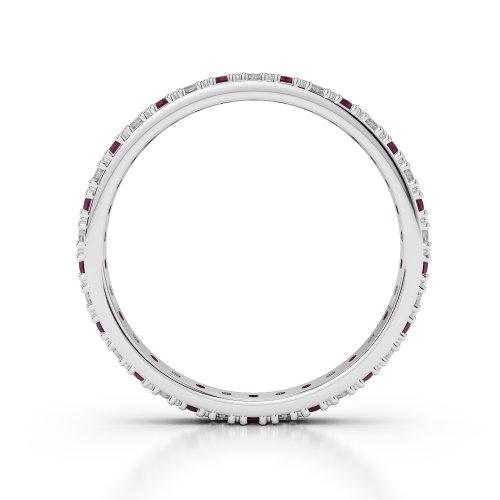 G-H/VS 0,75ct Coupe ronde sertie de diamants Rubis et Full Eternity Bague en platine 950Agdr-1126
