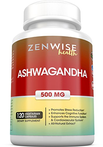 Ashwagandha Supplements - Natural Mood & Energy Booster - Calming Indian Ginseng for Stress & Fatigue - Adaptogen for Heart, Thyroid & Immune System Support - 500 MG - 120 Vegetarian Capsules