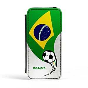 Brazil Football World Soccer Team - Brazilian Fans Flag Premium Faux PU Leather Case, Protective Hard Cover Flip Case for Apple? iPhone 5 / 5s by UltraFlags + FREE Crystal Clear Screen Protector