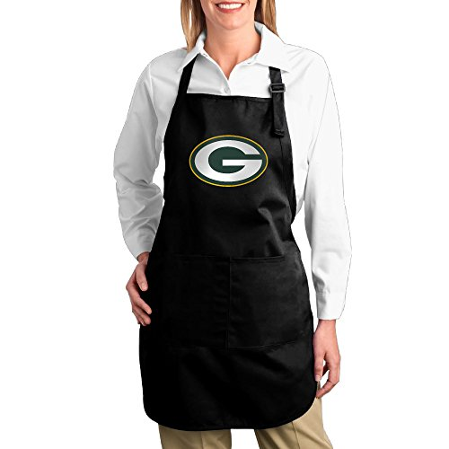 (Hotel Waitress Apron With Pocket Green Bay Packers Twill Cotton Barbecue Adjustable Adults Cotton Apron Bibs Great)
