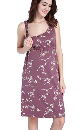 CAKYE Maternity Nursing Nightgown Pajamas Sleepwear For Breastfeeding (Large,...