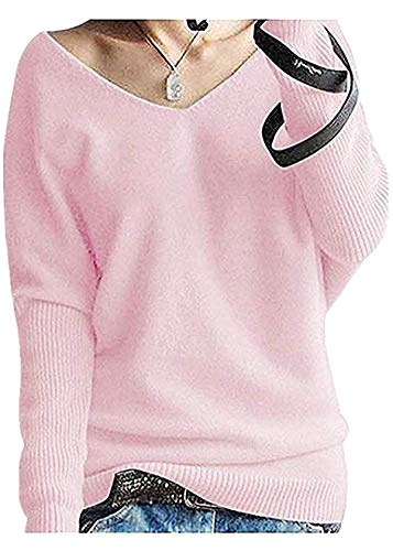 FCYOSO Women's Big V-Neck Pullover Loose Sexy Batwing Sleeve Wool Cashmere Sweater Tops Medium Pink