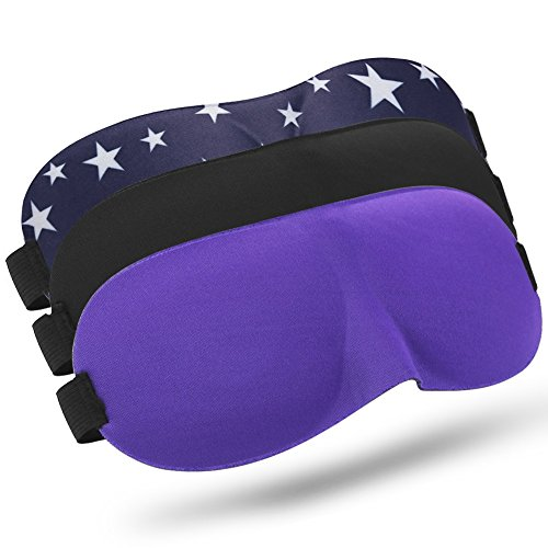 3PCS Sleep Mask Night, Eye Mask for Sleeping with Adjustable Strap, Comfortable & Soft for Women and Men, Sleeping Aid, 3D Contoured Blindfold for Travel, Shift Work, Blocks Light, Black/Purple/Star