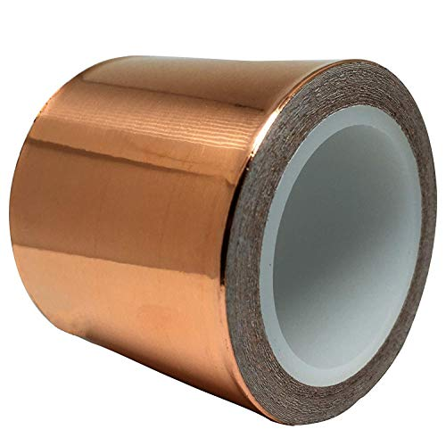 Copper Foil Tape (2inch x 18ft) for Guitar and EMI Shielding, Slug Repellent, Crafts, Electrical Repairs, Grounding - Conductive Adhesive - Thicker Foil - Extra Wide Value Pack at A Great Price]()
