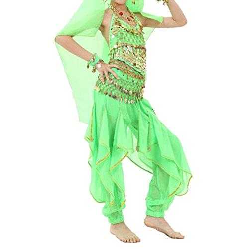 TopTie Kid's Belly Dance Costume Set, Halter Top, Harem Pants, Hip (Green Genie Costume)