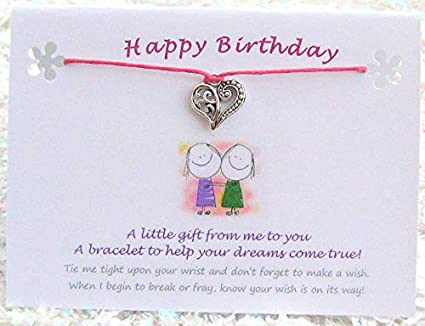 HAPPY BIRTHDAY Wish String Bracelet Tibetan Heart Charms Quote Card Fuchsia Cord