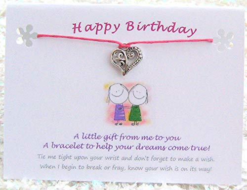 0d0bcb9e30d03 HAPPY BIRTHDAY Wish String Bracelet, Tibetan Heart Charm & Quote Card  (Purple Cord). A Lovely Token Gift, Keepsake. Ideal For Birthday, Sister,  ...
