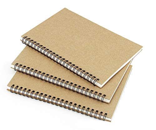 (3 Pack)Brown cover Spiral Notebook/students and office,Writing diary Subject Notebooks,College Ruled,50 Sheets (100 Pages)-8.27x 5.59inch,A5 size.Kraft Paper Hardcover(Blank)