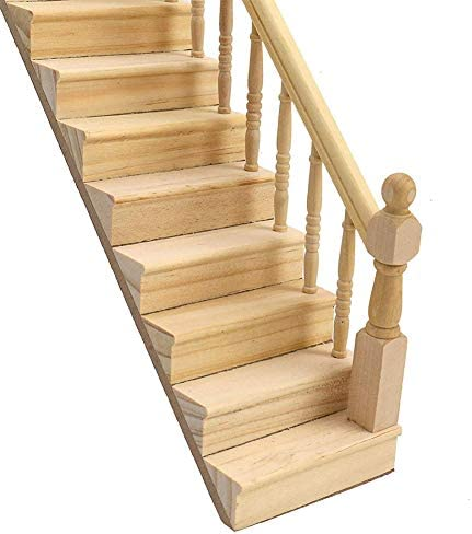 Whiie891203 DIY Doll house Miniatures,1//12 Wooden Staircase Stair Stringer Step Model DIY Miniature Doll House Decor Model Role Play for Kids Birthday /& Christmas Gift Choice