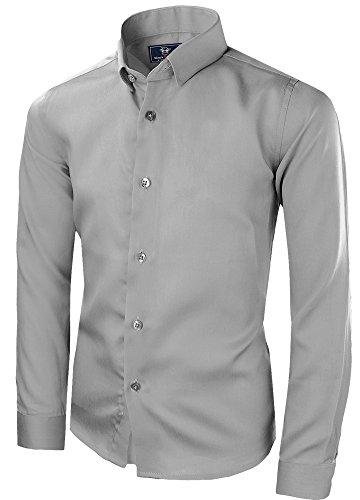 Black n Bianco Signature Boyss Sateen Long Sleeve Dress Shirt (4, Gray)]()