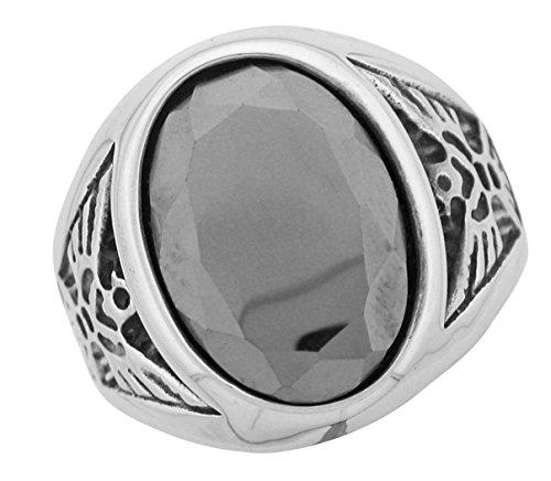 Hematite Stainless Steel Ring (Stainless Steel Mens Hematite Eagle Ring)