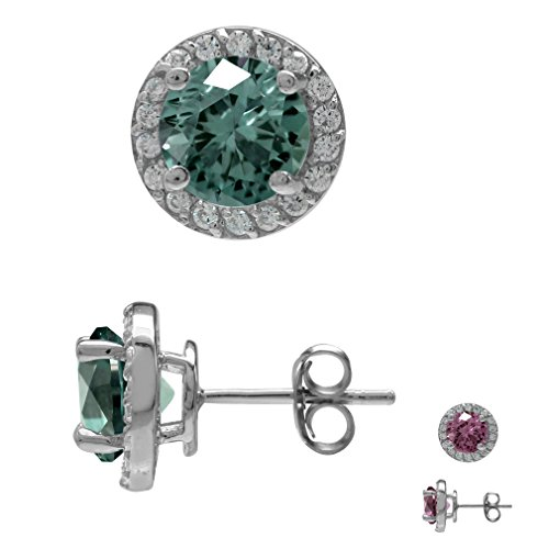 - 7MM Round Shape Simulated Color Change Alexandrite 925 Sterling Silver Halo Stud Earrings