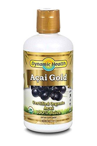 Dynamic Health Acai Gold- 100% Pure Organic Certified Acai Juice, 32-Ounce Bottle